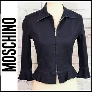 MOSCHINO Front Zip Denim Ruffle Jacket/Cardigan, 8